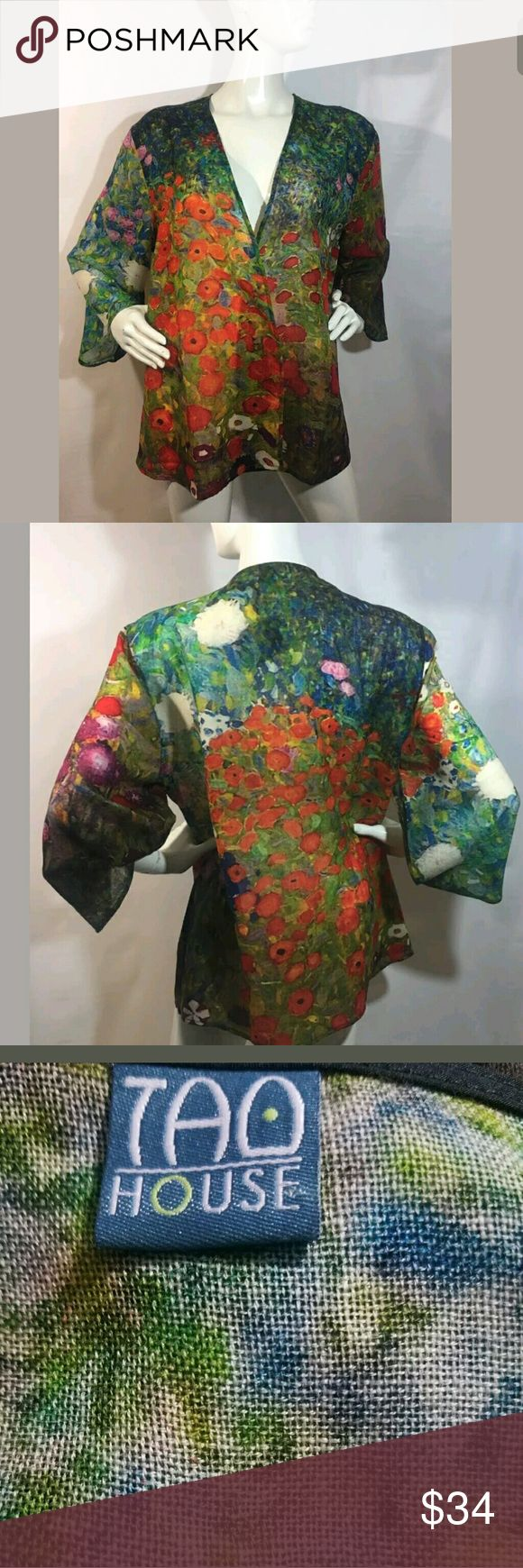 Tao House Kimono Top Large / Extra Large Tao House Kimono Top Women's Large / Extra Large 100% Wool Open Wrap Multicolor  New top. Size Large/ Extra Large.  24 inches pit to pit.  28.5 inches long.   LB Tao House Tops