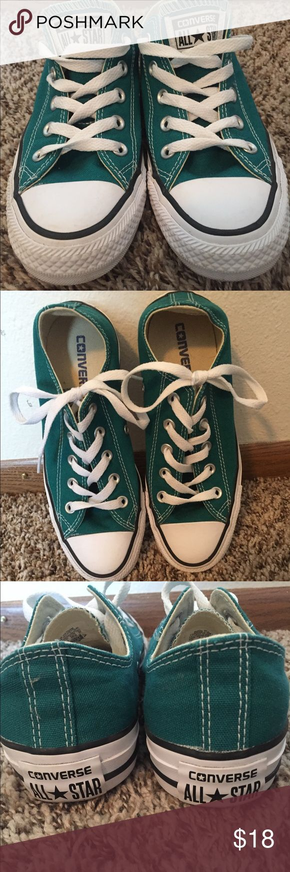 Teal Converse Teal converse, size 6, gently worn Converse Shoes Sneakers