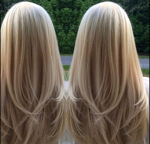 Stufenschnitt fur lange blonde haare