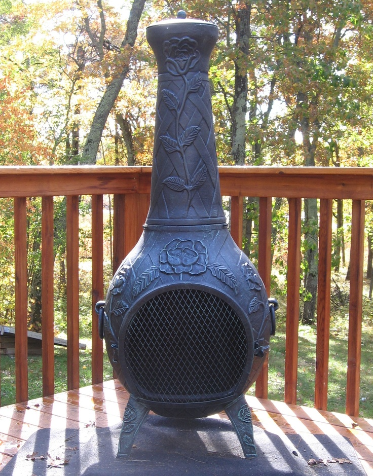 No backyard is complete without roses. Give your deck that final touch with the Rose Style Chiminea.  The intricate Rose design makes a great conversation piece while entertaining in front of a roaring fire. This large chiminea handles a full size fire logs and has an extra large mouth opening for full view of the fire.  $429.95  thebluerooster.com