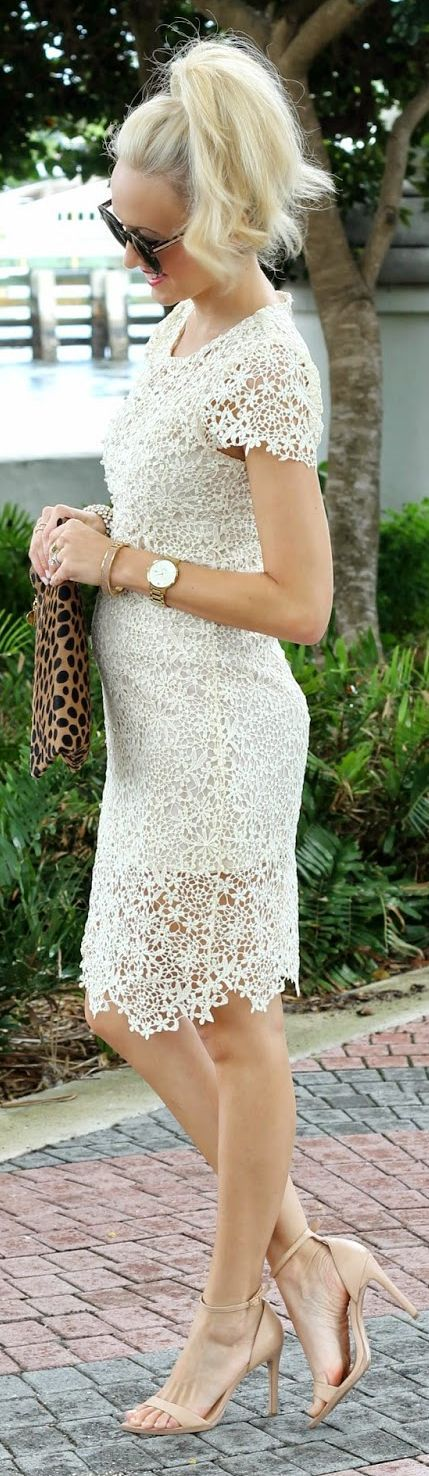Sheinside White Crochet Midi Shift Dress by A spoonful of Style