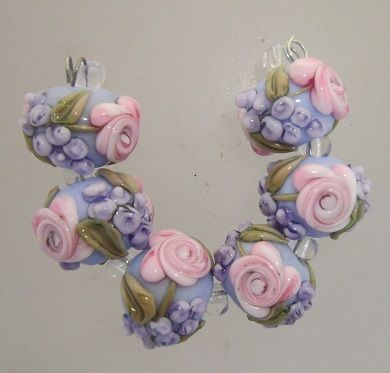 BLISS Roses and Wisteria on Blue Lampwork Bead Set | blissfulgardenbeads - Jewelry on ArtFire