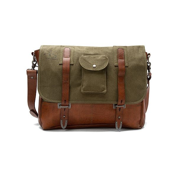 Parson Gray for Kalencom Gunnery Field Sling Bags (385 CAD) ❤ liked on Polyvore featuring men's fashion, men's bags, men's messenger bags, bags, purses, olive, mens messenger bag, mens courier bag and mens leather messenger bag