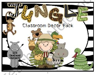 Jungle Themed Classroom Decor and Organizational Pack from Rachael Parlett on TeachersNotebook.com (140 pages)