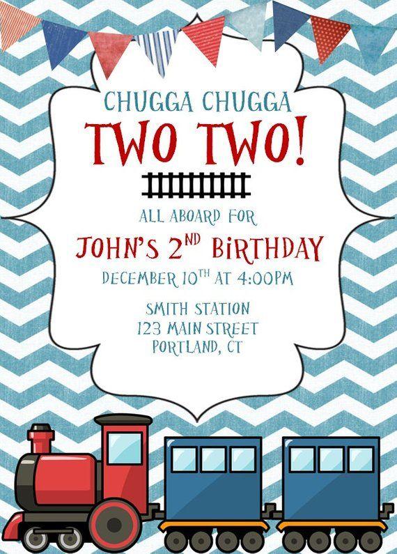 Train Invitation Invitations Chugga Two