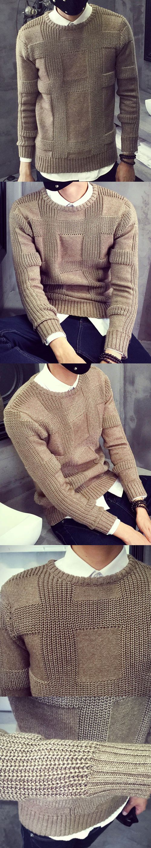 Round Neck Solid Color Jacquard Splicing Long Sleeve Sweater For Men