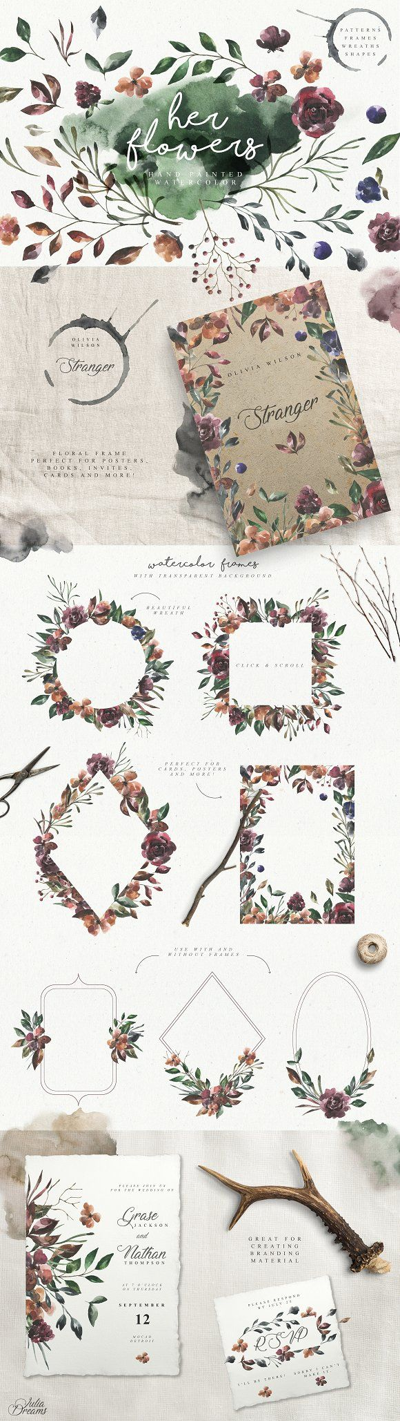 Her Flowers by Julia Dreams on @creativemarket