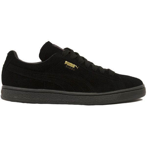Puma Women's Suede Classic + Mono Iced Sneakers - Black ($65) ❤ liked on Polyvore featuring shoes, sneakers, delete, black, round toe shoes, suede leather shoes, black suede shoes, black shoes and black sneakers