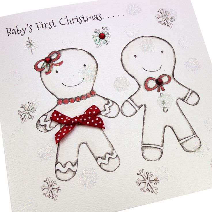 Handmade Christmas Card Glitter Embossed Red Gems Polka Dot Bows Gingerbread Men Cute - 'Baby's First Christmas'