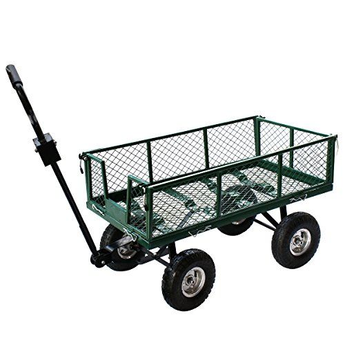 Cheap Super Deal Green Garden Yard Grass Utility Wagon 485LB Capacity Lawn Heavy Duty Wheelbarrow Trailer Pull Cart (Green) https://garagestorageusa.info/cheap-super-deal-green-garden-yard-grass-utility-wagon-485lb-capacity-lawn-heavy-duty-wheelbarrow-trailer-pull-cart-green/