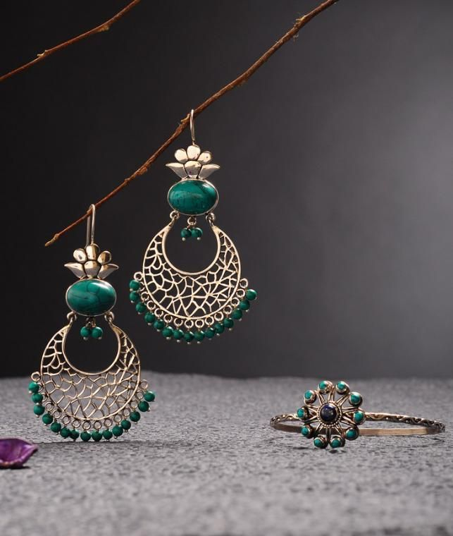 Buy Shine On Zara Silver Delicate silver earrings, bracelets with pearls and gemstones Online at Jaypore.com