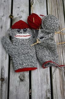 lined sock monkey mitts