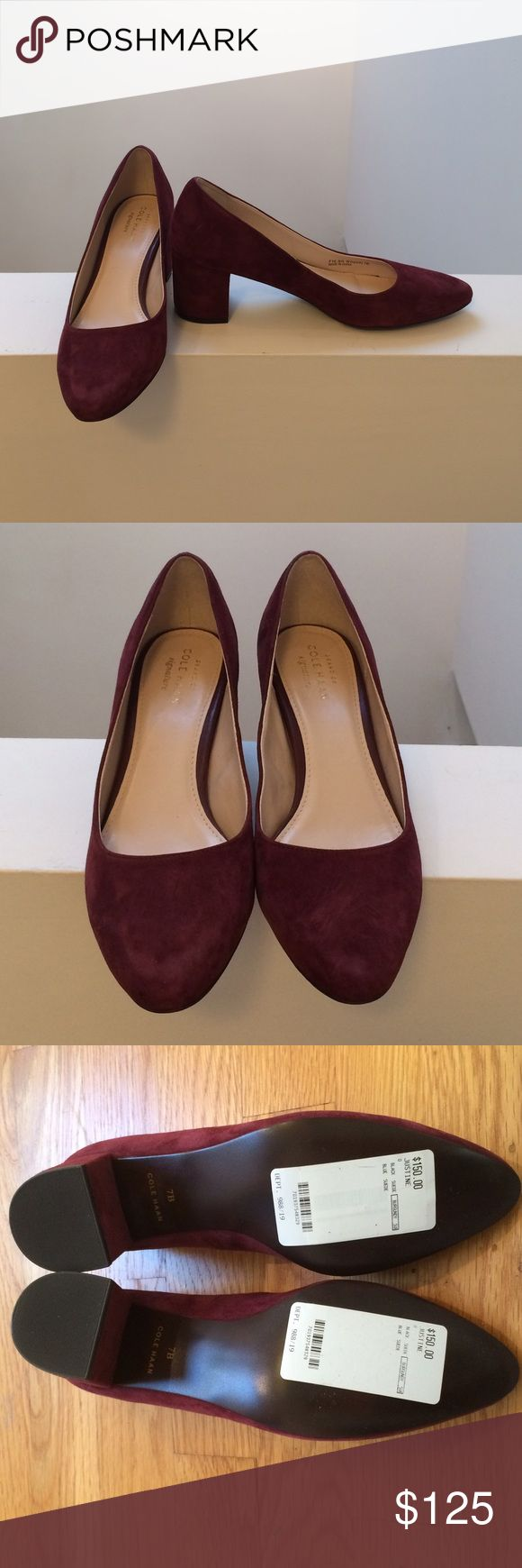 Cole Haan Justine Pump Brand new in box. Cole Haan Justine pump in tawny port suede. Never worn, just tried on. Cole Haan Shoes Heels
