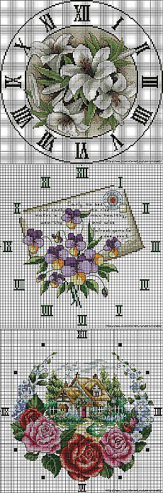Вышитые часы - 16 схем для вышивки | Вышивка крестом