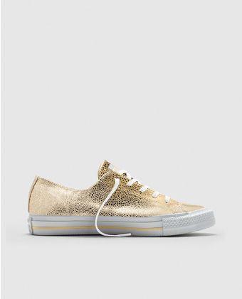 Zapatillas de piel de mujer Converse en piel dorada. Modelo Chuck Taylor Gemma