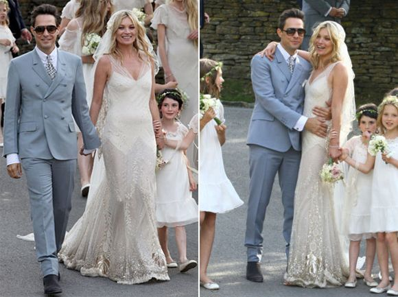 Kate Moss and Jamie Hince, 1st July 2011. Wedding Dress by Galliano