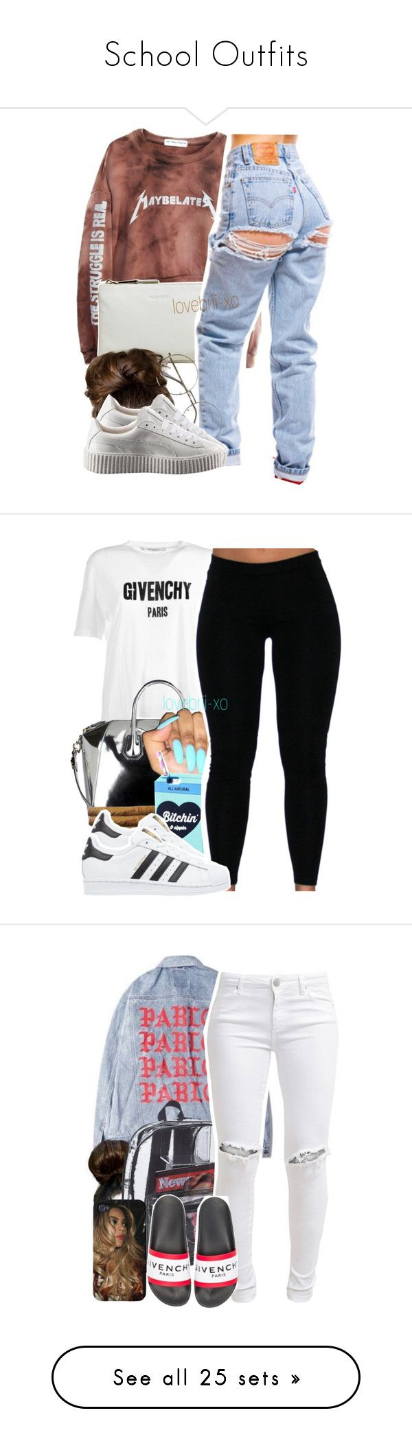 """School Outfits"" by analinajgalaviz ❤ liked on Polyvore featuring High Heels Suicide, Jil Sander, Puma, Givenchy, Valfré, adidas Originals, FiveUnits, Chanel, Topshop and adidas"