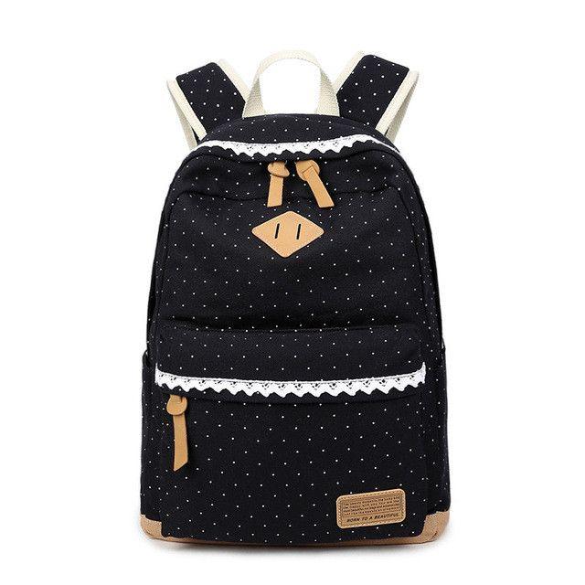 Cute Girl School Backpack Polka Dot Canvas Backpack For Teenage Girls School Bags Lightweight Laptop Backpacks Rucksack