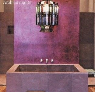 Design Ideas : Purple Bathroom Design Ideas With Stone Wall And Bathtub And  Chandelier And Wooden Floo.