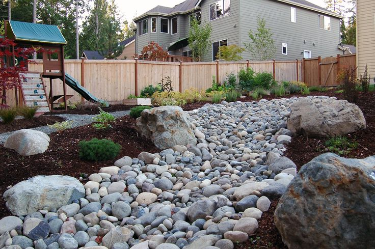 Pin by toni mihal on dry river beds pinterest for Landscaping rocks kitsap county