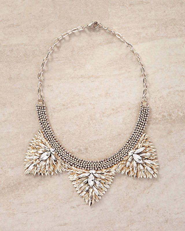 Deepa Gurnani Zelina Crystal Triangle Bib Necklace | Express