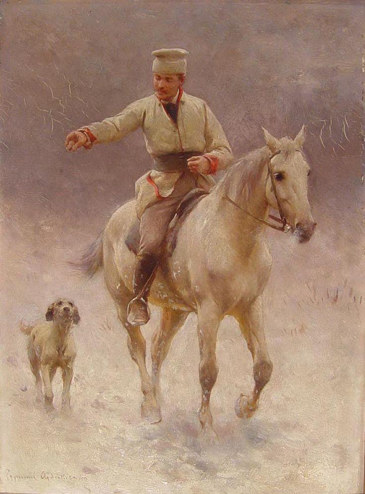 """Zygmunt Ajdukiewicz """"Jeździec na koniu z psem w zimie"""", olej na desce, 26,5 x 19,5 cm, własność prywatna"""