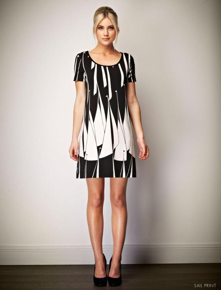 Leona Edmiston Monique dress with monochrome sail print