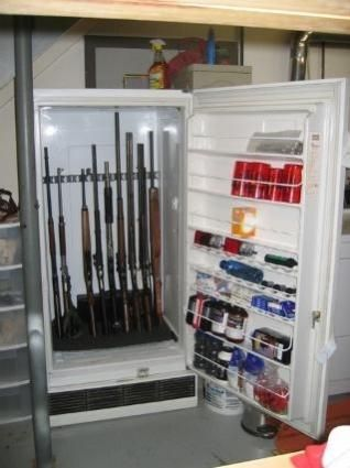 repurposed frige to gun, ammo storage. Seriously genius! Just make sure to add bolt lock on it. - love this idea! Having all of my boyfriend's guns and ammo all over the apartment is killing me. This would be a cool way to organize it!