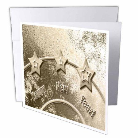 3dRose Three Gold Stars on Gold Happy New Year, Greeting Cards, 6 x 6 inches, set of 6