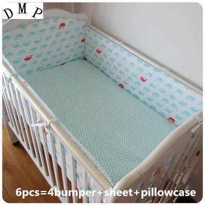 Promotion! 6PCS Crib Baby Bedding Set Cotton Newborn Baby Bumper Crib Cartoon Bed Set Unisex,(bumpers+sheet+pillow cover) #Affiliate