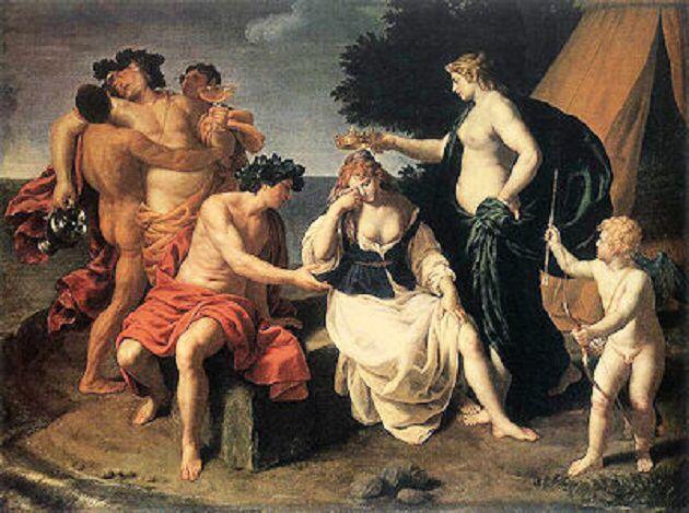 アリアドネー(古希: Ἀριάδνη, Ariadnē)は、クレーテー王ミーノースと妃パーシパエーのあいだの娘である。テーセウスがクレーテーの迷宮より脱出する手助けをしたことで知られる。アリアドネーという名は「とりわけて潔らかに聖い娘」を意味するので、この名からすると本来女神であったと考えられる。  日本語では長母音を省略してアリアドネとも表記される。   《画像》クレタ島の迷宮=クノッソス宮殿に生息する怪物=ミノタウロスを退治するために、アテナイからテセウスがやってきました。  テセウスに恋した王女アリアドネは、自分を妻にする約束で、迷宮から脱出する方法をテセウスに教えます。  ところが、使命を終え、アリアドネを伴って船で帰途についたテセウスは、途中のナクソス島に彼女を置き去りにしてしまいます。  そんな、嘆くアリアドネに一目で恋したのが酒神ディオニュソス。  ディオニュソスは、彼女に永遠の愛を誓い、妻にしました。