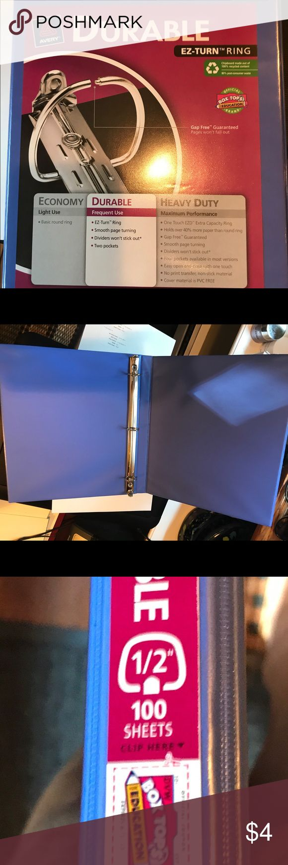 1/2 inch blue binder Sturdy blue binder. Never used. Two being sold together Other