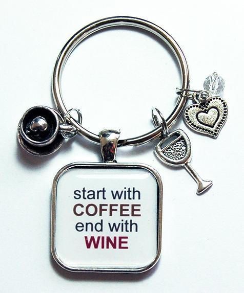 Coffee Keychain Coffee Keyring Wine keychain Start with