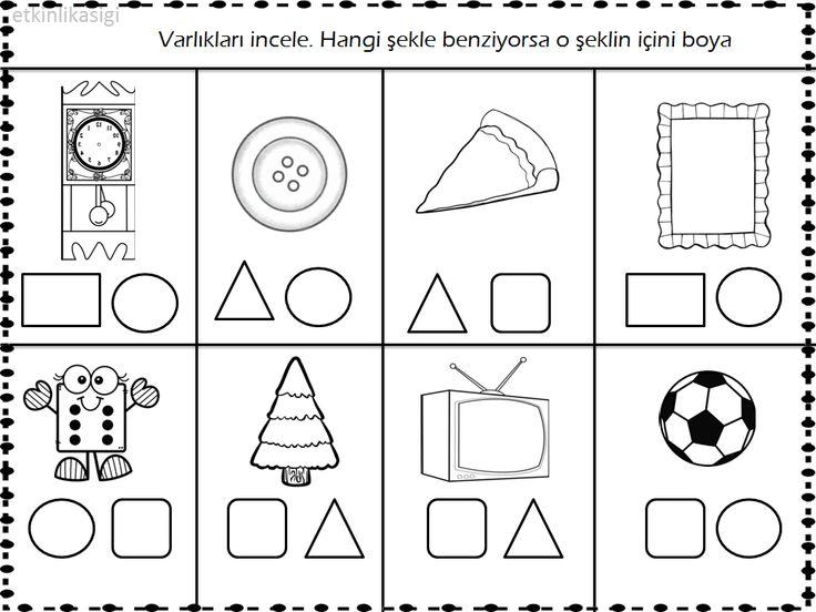 geometrik şekil çalışma sayfası