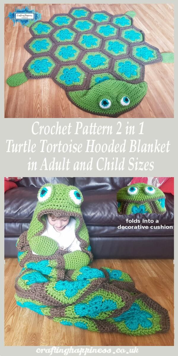 2 em 1 cobertor com capuz tartaruga de mar em adulto e criança tamanhos crochet padrão