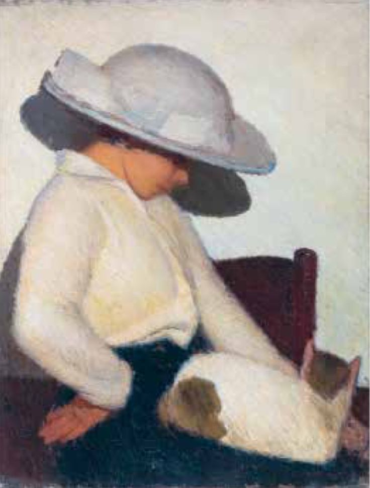 Oscar Ghiglia (Italian, 1876-1945) - Girl with straw hat (and cat), 1914-15