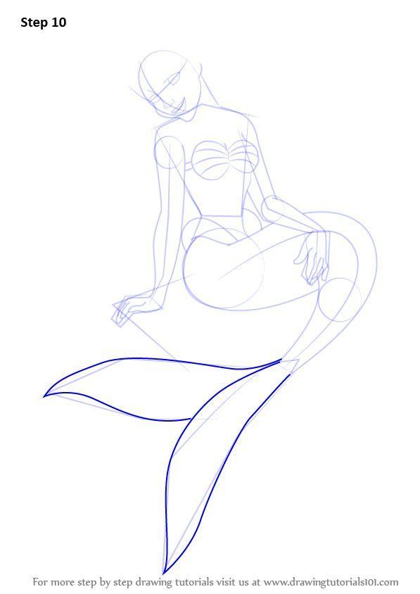 Apprenez A Dessiner Une Sirene Assise Sur Un Rocher Sirenes