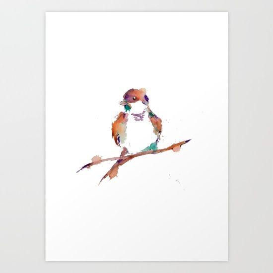 Splashy Sparrow I Art Print by Art By Chrissy Taylor - $22.00