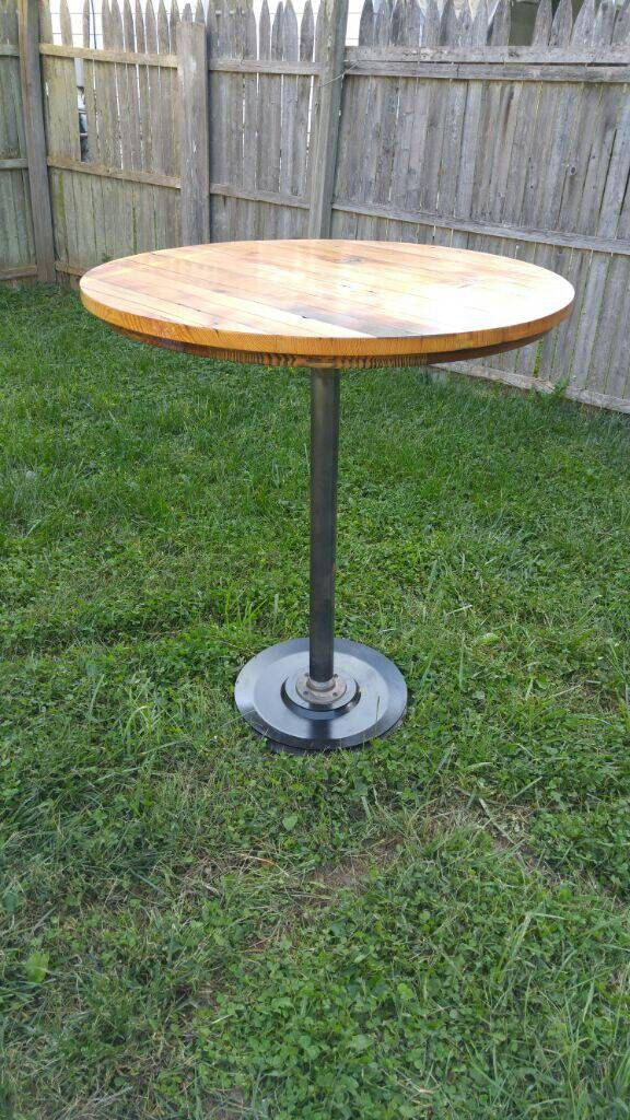 Reclaimed barn wood rustic pub height table by JuneWoodworks on Etsy