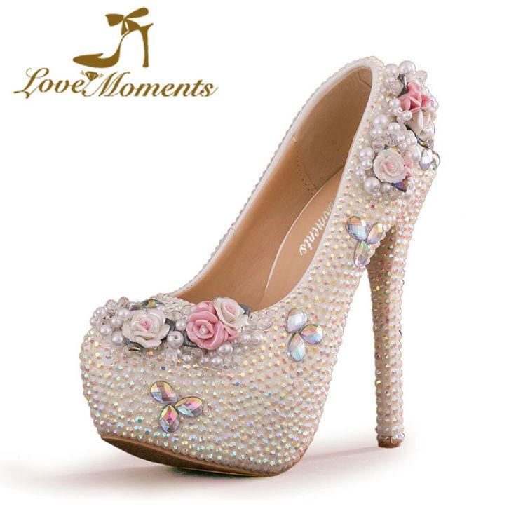 Love Moments shoes woman AB Color rhinestone high heels pearl platform wedding shoes Bride ladies shoes valentine women shoes