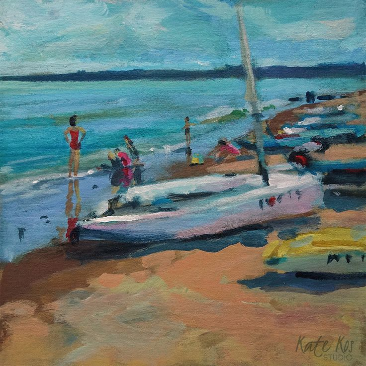 Lady in Red: 'Lady in Red' Original acrylic seascape painting of dinghy boat after lesson of sailing with kids playing with the… #IrishArt