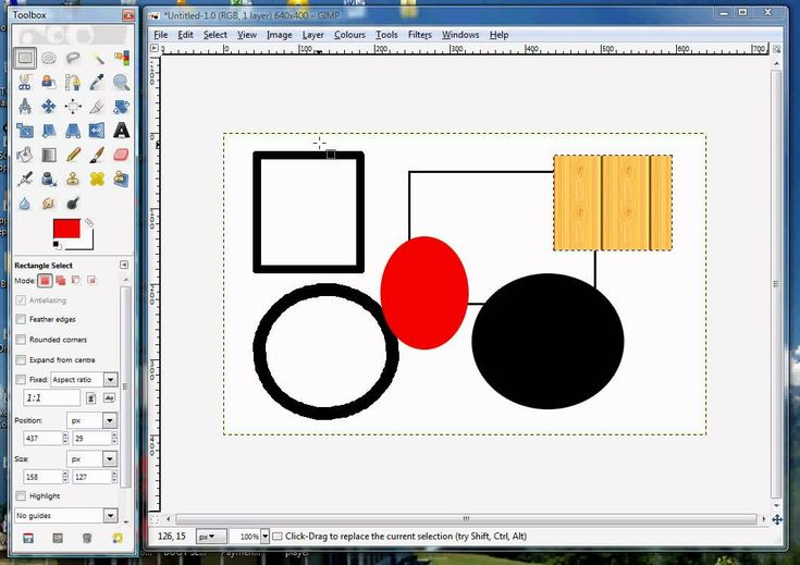 Draw Basic Shapes - circle, square, oval, rectangle with GIMP