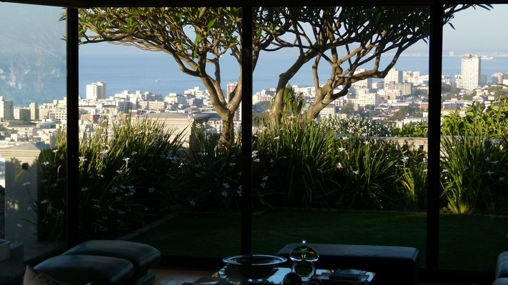 View onto the upper gardens of Hamilton House, Cape Town - over looking Sea Point below  www.hamiltonhousecapetown.com