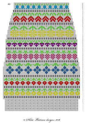 Toinen Knit along -projektikin valmistui. Näihin kirjoneulesukkiin ilmestyi ohjeenpätkä aina aamuisin 1.-13.3. facebookin sivuillani (...