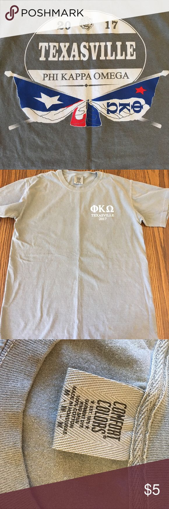 "Phi Kappa Omega fraternity t-shirt, size M, gray Gray Texas t-shirt ""Texasville, Phi Kappa Omega"" fraternity, men's size medium. Shirts Tees - Short Sleeve"