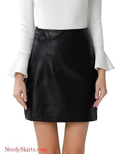 461c9867b7 GUANYY Women's Faux Leather Vintage High Waist Classic Slim Mini Pencil  Skirt