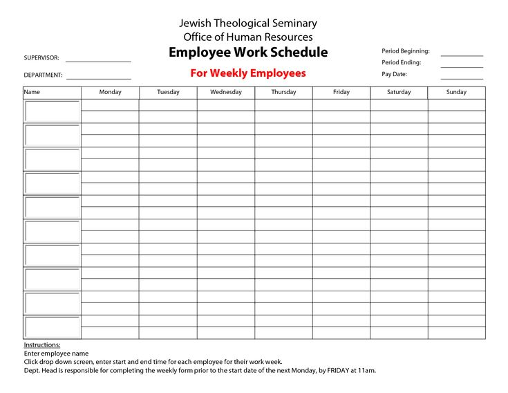 printable employee work schedule template  with images