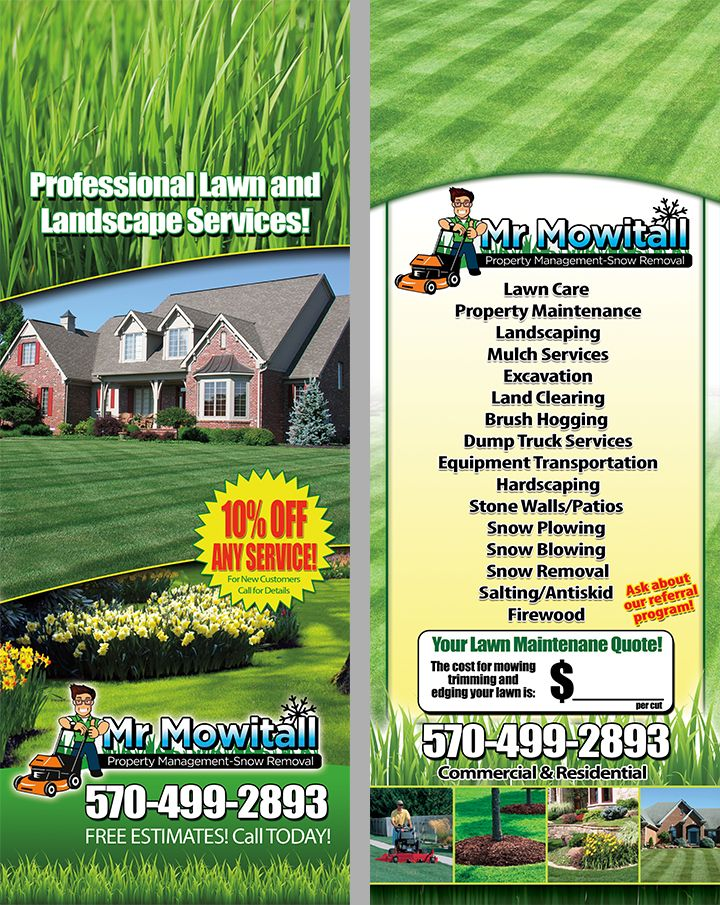 Lawn Care Mowing Maintenance Door Hanger Lawn Care Lawn Care