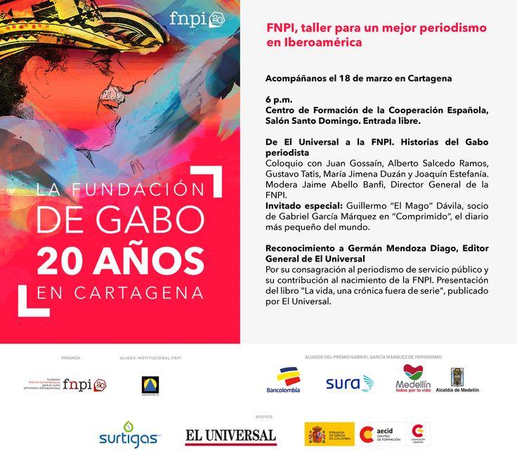 Este 18 de marzo, cuando cumplamos 20 años, haremos un recorrido por la trayectoria periodística de Gabo, que comenzó en El Universal y culminó con el proyecto que nos une: la Fundación que creó y que hoy lleva su nombre. http://www.fnpi.org/noticias/noticia/articulo/la-fundacion-de-gabriel-garcia-marquez-en-cartagena-cumple-20-anos/