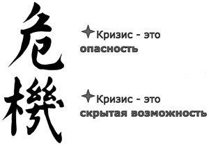"""Слово """"кризис"""", написанное по-китайски, состоит из двух иероглифов: один означает """"опасность"""", другой – """"благоприятная возможность""""."""